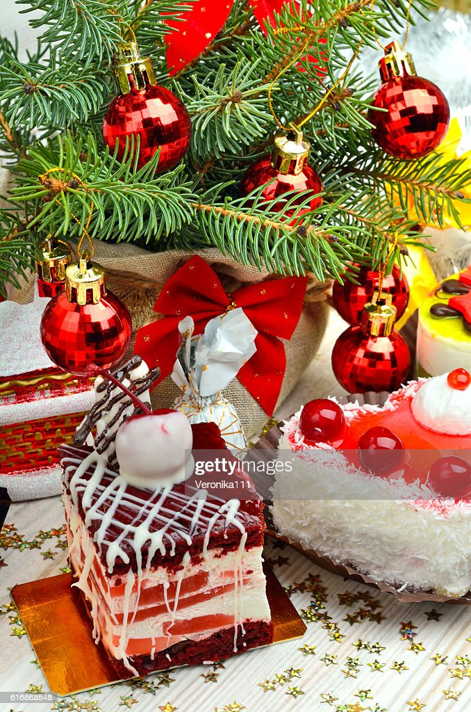 Christmas cakes on christmas background. : Stock Photo