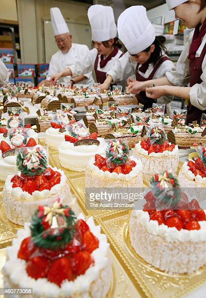 Christmas cakes production in full swing at a cake shop on December 21 2014 in Nagoya Aichi Japan