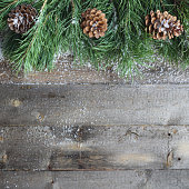 Christmas card on wooden background with snow and fir tree branch with pine cones. View with copy space