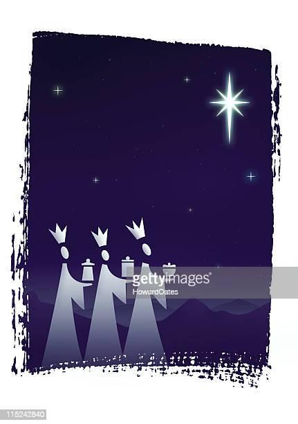 Tarjeta de navidad-tres reyes magos