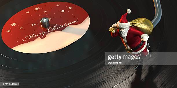 Christmas Card with Santa skating on a Vinyl Record