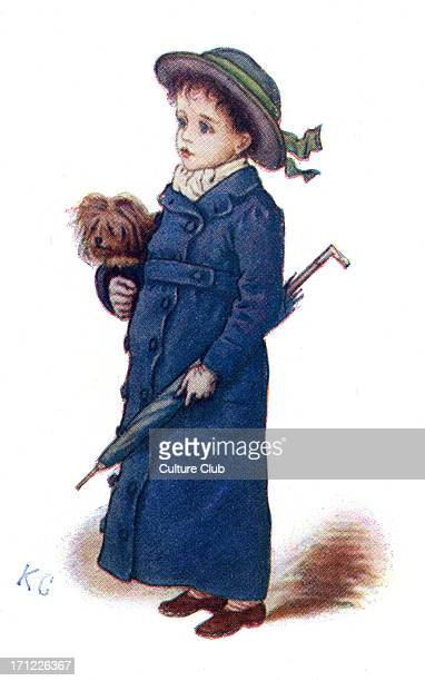 'Christmas Cards' by Kate Greenaway Victorian boy with blue winter coat and umbrella