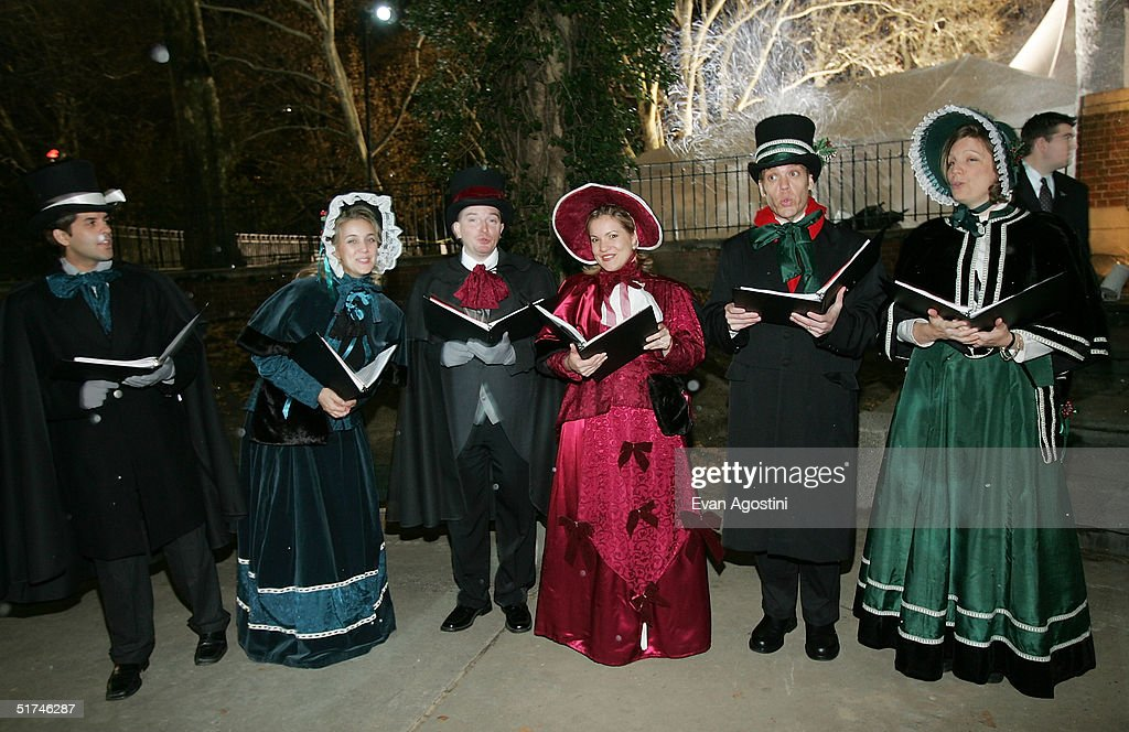 Christmas carolers greet guests at the 'Christmas With The Kranks' afterparty in Central Park November 15 2004 in New York City