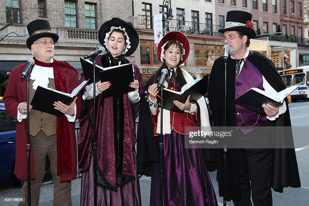 Christmas carolers perform at GOTHAM Cover celebration and Miracle on Madison brunch with Sandra Lee at The Hotel Plaza Athenee on December 5 2015 in...