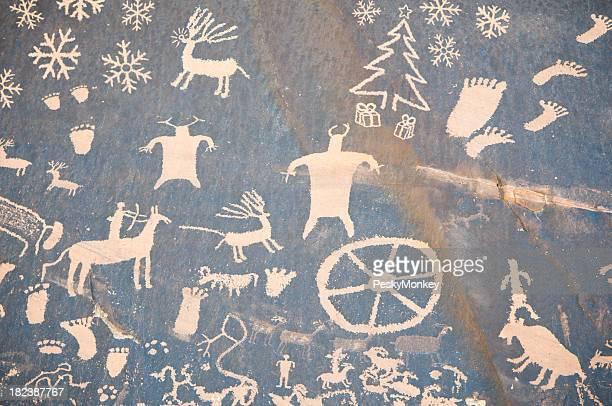 Cueva de Navidad con renos y Snowflakes dibujo