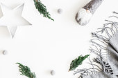 Christmas composition. Christmas scandinavian decorations on white background. Flat lay, top view, copy space