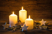 Christmas candlelights with decoration.