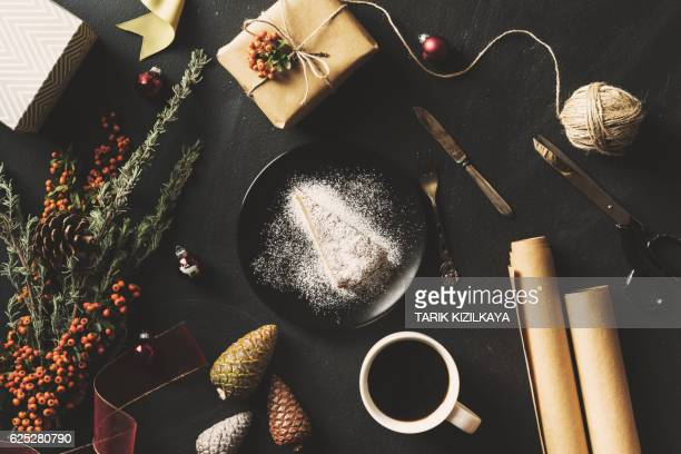 Christmas concept flat lay on blackboard