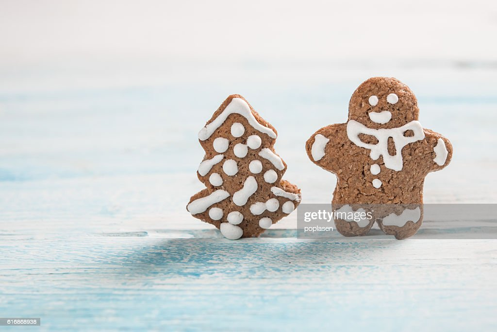 Christmas cookies on vintage background and space for text : Stock Photo