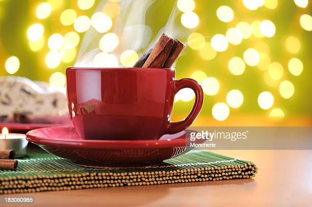 Christmas cookies with hot cinnamon tea