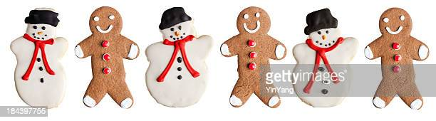 Christmas Cookies—Gingerbread Man and Snowman Holiday Baked Dessert Food