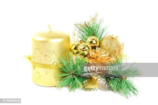 Christmas decor on white : Stock Photo