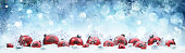 Decorated Red Baubles On Snow With Snowy Background
