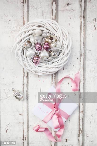 Christmas decoration and Christmas present on wood