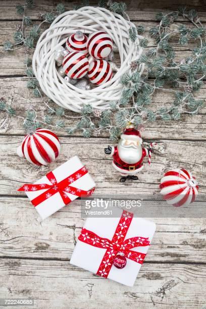 Christmas decoration and Christmas presents on wood