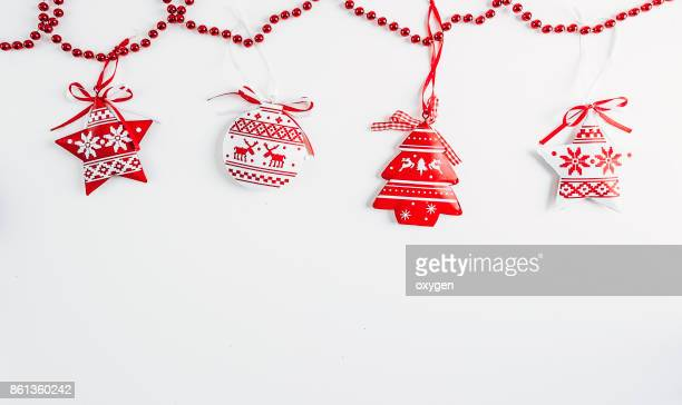 Christmas decoration background. Flat lay, top view