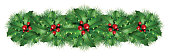 Christmas holly decoration mistletoe floral centerpiece border graphic element with a winter season pine border ornamental for a holiday festive winter celebration on a white background as a 3D render