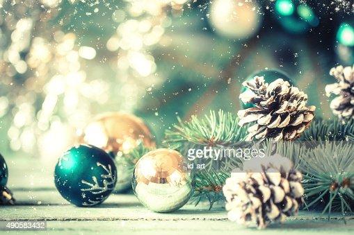 クリスマスデコレーションに抽象的な背景、ヴィンテージのフィルタ、soft focus : ストックフォト