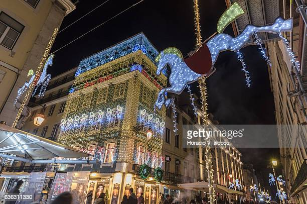 Christmas decoration on Casa Portuguesa do Pastel de Bacalhau in Rua Augusta days before Christmas and New Year festivities on December 20 2016 in...