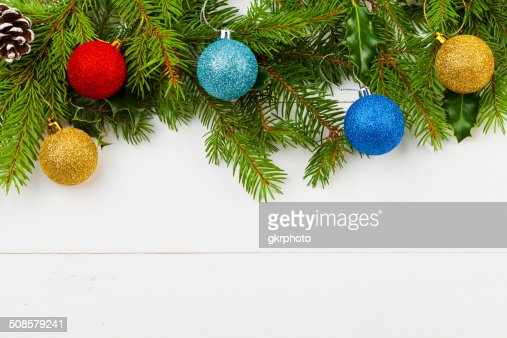 Christmas decoration on the wooden white background : Stock Photo