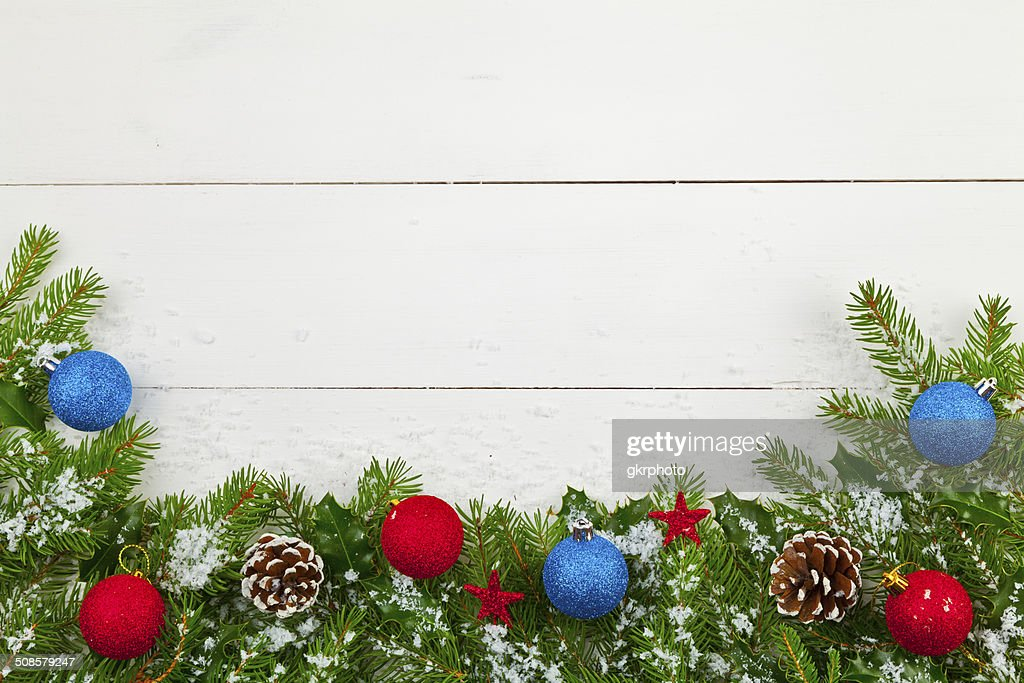 Christmas decoration on the wooden white background : Bildbanksbilder