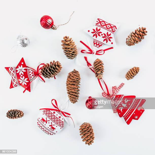 Christmas decoration on white background. Flat lay, top view