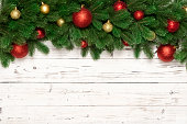 Christmas decoration on wooden background. Top view.