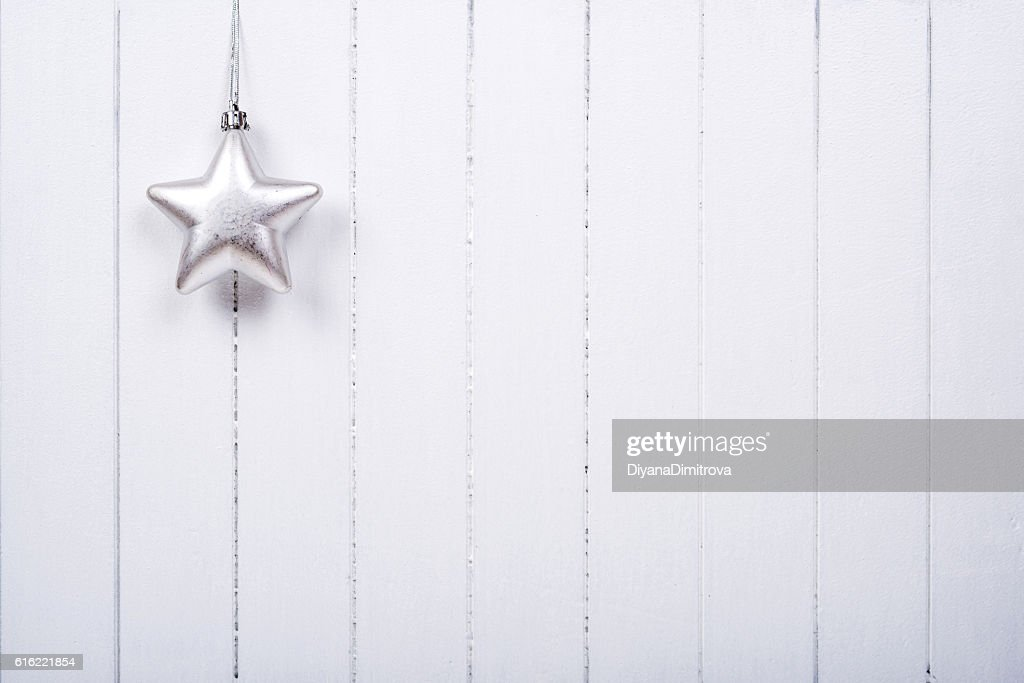 Christmas decoration over white background - selective focus, copy space : Stock-Foto