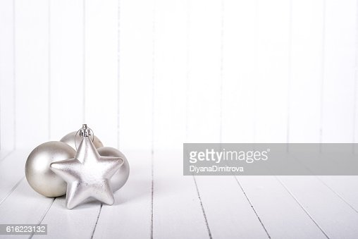 Christmas decoration over white background - selective focus, copy space : Stockfoto