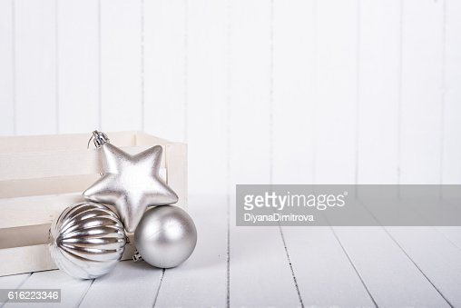 Christmas decoration over white background - selective focus, copy space : ストックフォト