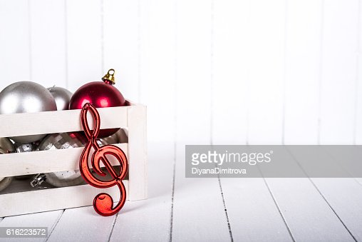 Christmas decoration over white background - selective focus, copy space : Foto stock