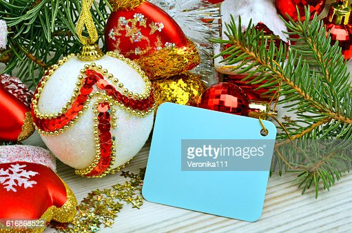 Christmas decoration, pine twig, card for text. : Stock Photo