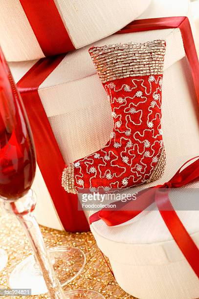 Christmas decoration: red boot and gift boxes