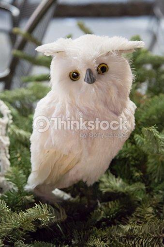 christmas decoration white owl stock photo