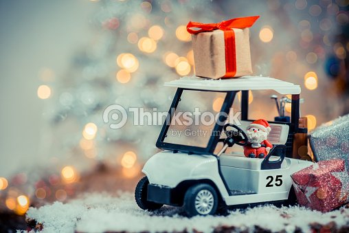 Christmas Decoration With Golf Car On December Stock Photo Thinkstock