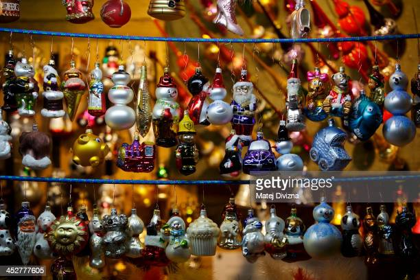 Christmas decorations are displayed at the Christmas market at the Old Town Square on December 1 2013 in Prague Czech Republic Christmas markets...