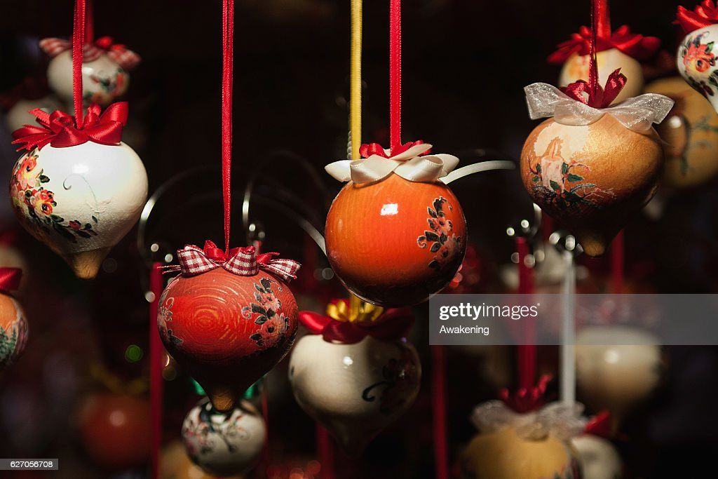 Christmas decorations are seen at the Christmas markets on December 1, 2016  in Trento,