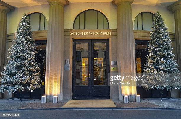 Christmas decorations are seen in front of the Esplanade Hotel on December 22 2015 in Zagreb Croatia Zagreb was voted last week European Christmas...