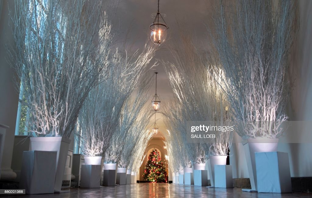 Christmas decorations are seen in the East Wing during a preview of holiday decorations at the White House in Washington, DC, November 27, 2017. /
