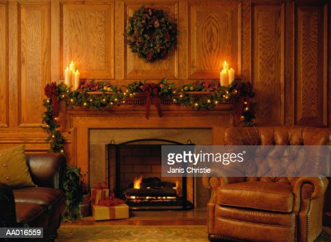 Christmas Decorations Around a Fireplace