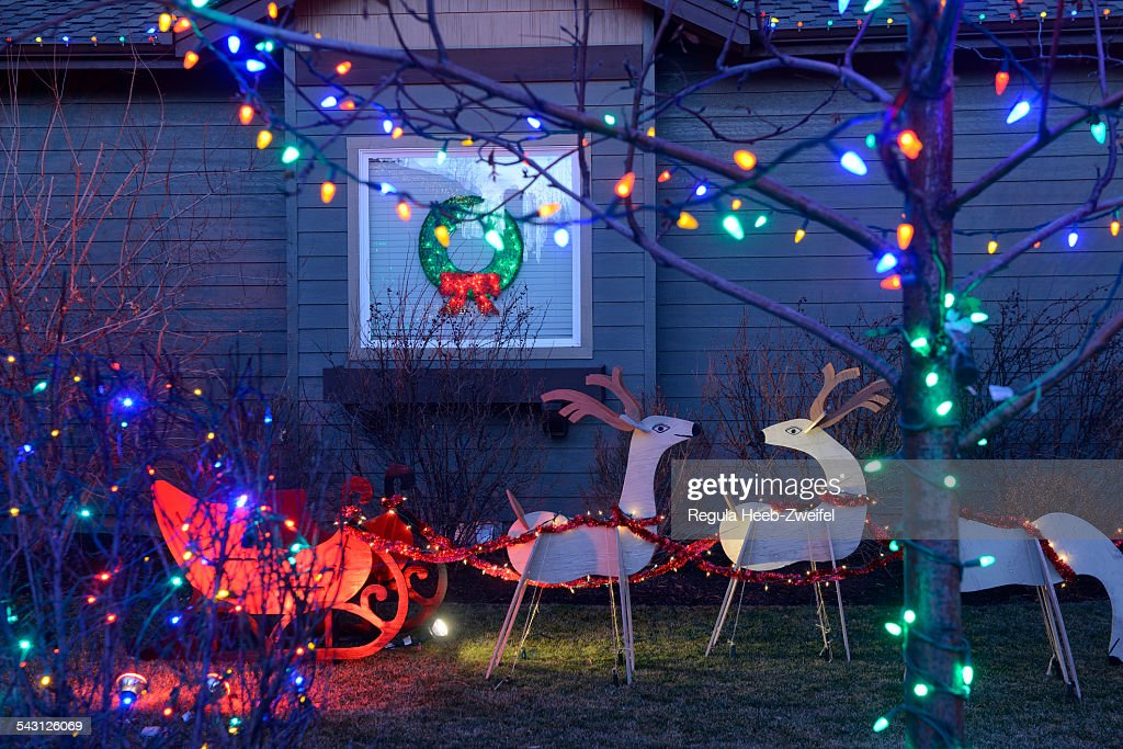 Christmas decorations at private home, Bend,Oregon,USA