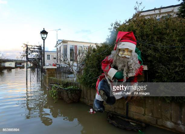 Christmas Decorations At The Little Venice Caravan Park In Yalding Kent As Flood Waters Return To