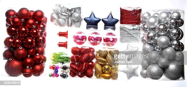 Christmas decorations, Christmas tree balls in transparent packaging