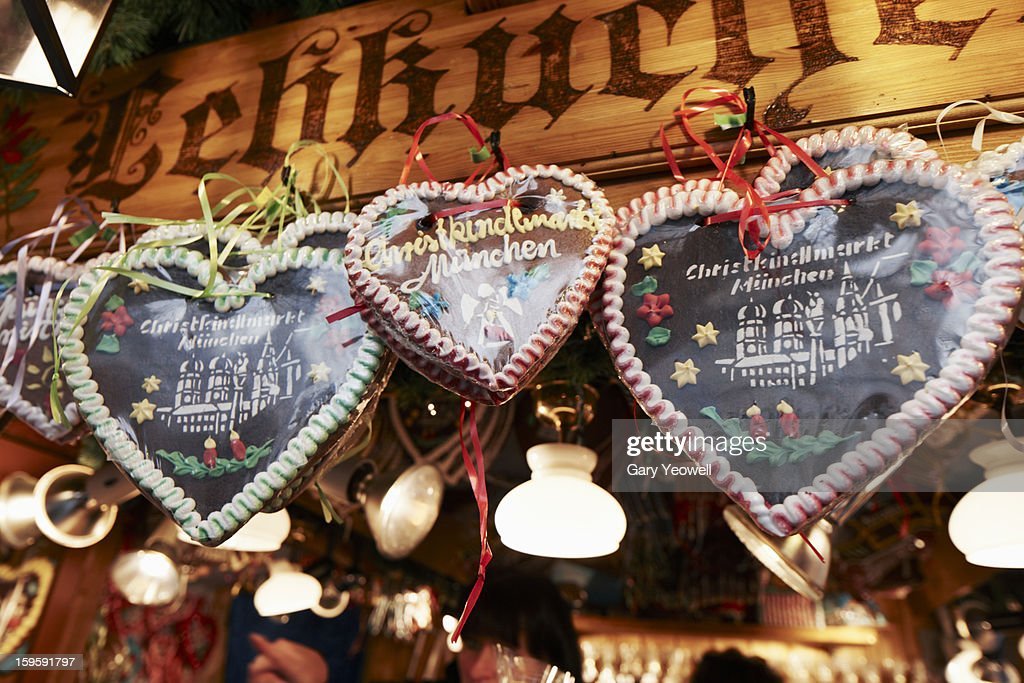 Christmas decorations for sale in Christmas Market : Stock Photo