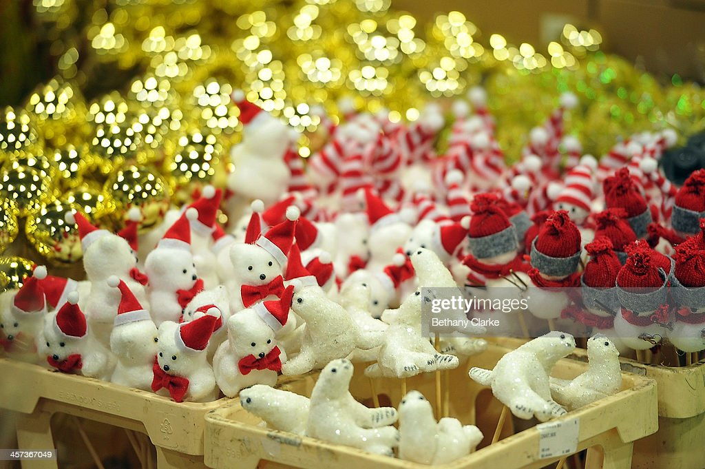 christmas decorations for sale on market stalls on december 16 2013 in london england