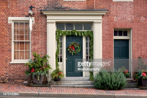 Christmas Decorations Front Porch Home Stock Photo Getty