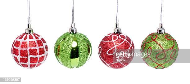 Christmas Decorations Hanging in a Row