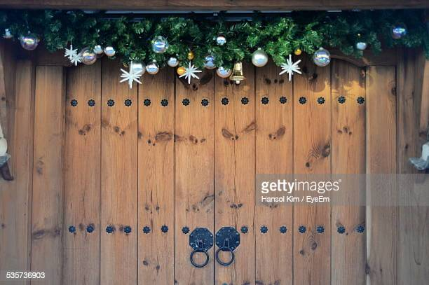 Christmas Decorations Hanging Over Front Door