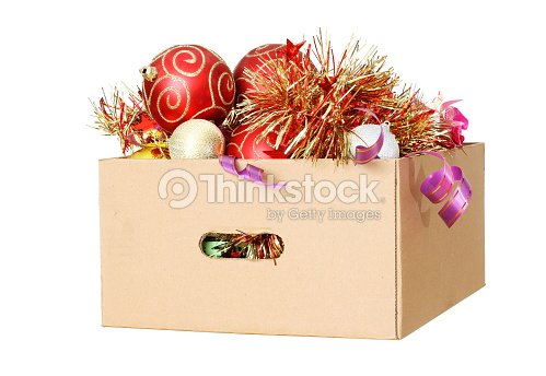 christmas decorations in a cardboard box stock photo - Cardboard Box Christmas Decorations