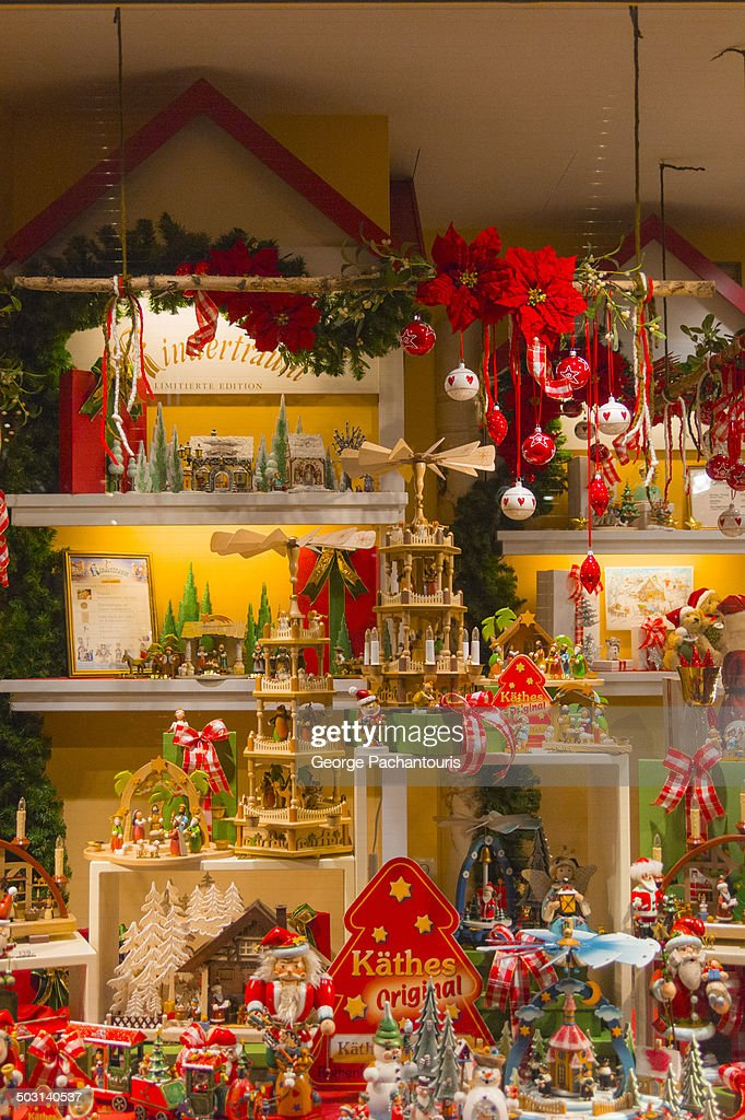 Christmas decorations in a shop vitrine stock photo for Decoration vitrine